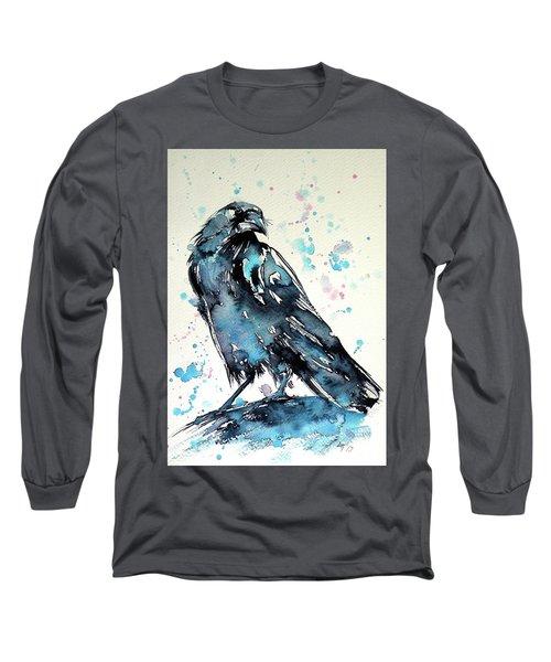 Long Sleeve T-Shirt featuring the painting Crow by Kovacs Anna Brigitta