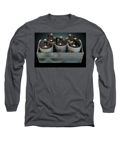 Moonshine In Wooden Crate Long Sleeve T-Shirt