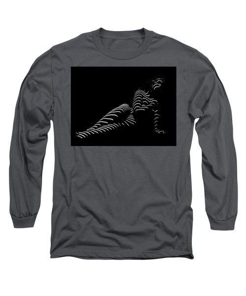 1370-tnd Zebra Woman Striped Woman Black And White Abstract Photo By Chris Maher Long Sleeve T-Shirt by Chris Maher