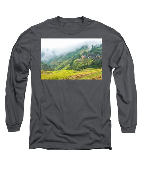 Terrace Fields Scenery In Autumn Long Sleeve T-Shirt