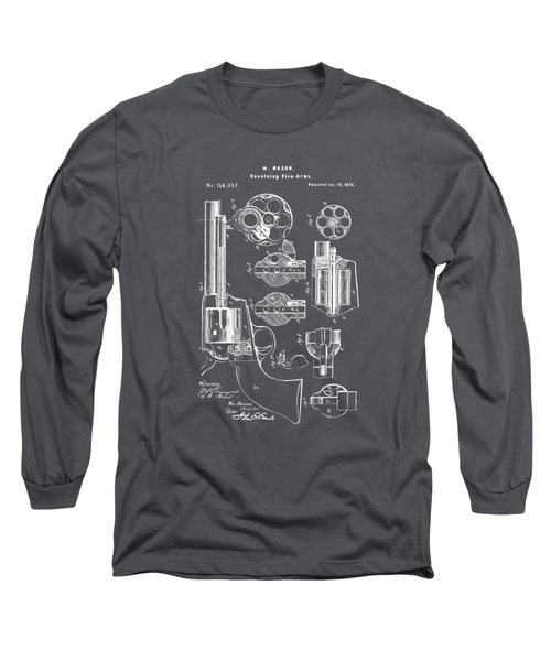 1875 Colt Peacemaker Revolver Patent Artwork - Gray Long Sleeve T-Shirt by Nikki Marie Smith