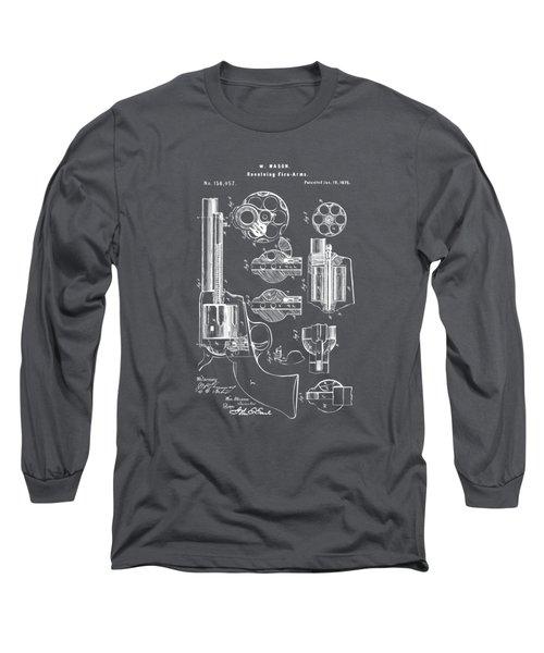 1875 Colt Peacemaker Revolver Patent Artwork - Gray Long Sleeve T-Shirt