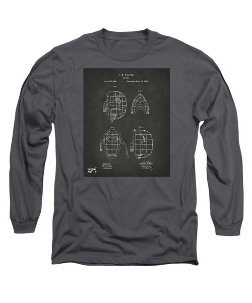 1878 Baseball Catchers Mask Patent - Gray Long Sleeve T-Shirt by Nikki Marie Smith