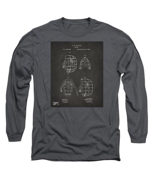1878 Baseball Catchers Mask Patent - Gray Long Sleeve T-Shirt by Nikki Marie Smith