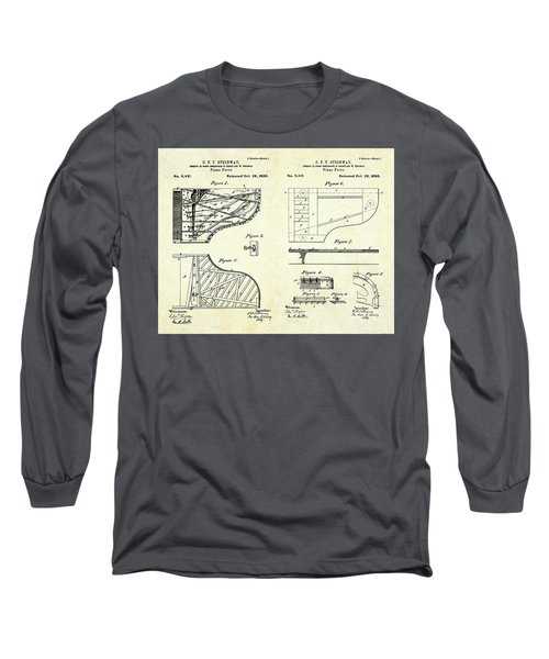 1880 Steinway Piano Forte Patent Art Sheets V2 Long Sleeve T-Shirt by Gary Bodnar