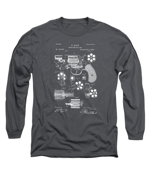 1881 Colt Revolving Fire Arm Patent Artwork - Gray Long Sleeve T-Shirt by Nikki Marie Smith
