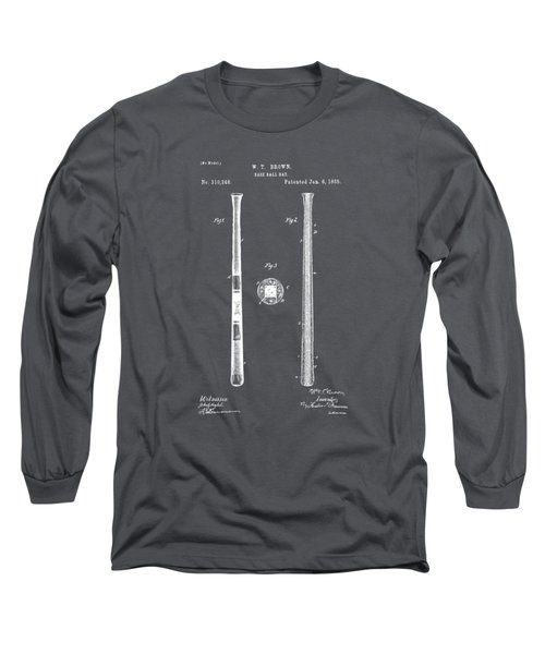 1885 Baseball Bat Patent Artwork - Gray Long Sleeve T-Shirt by Nikki Marie Smith
