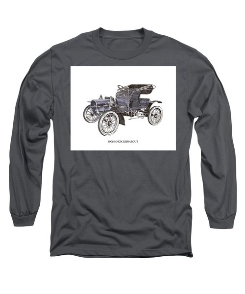 Long Sleeve T-Shirt featuring the drawing 1906 Knox Model F 3 Surry by Jack Pumphrey