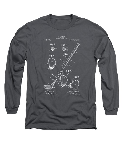 1910 Golf Club Patent Artwork - Gray Long Sleeve T-Shirt by Nikki Marie Smith