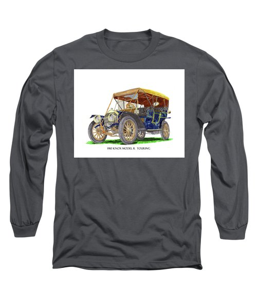 Long Sleeve T-Shirt featuring the painting 1910 Knox Model R 5 Passenger  Touring Automobile by Jack Pumphrey