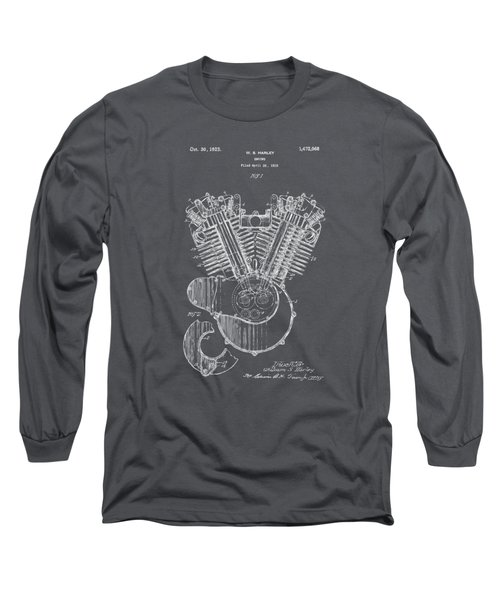 1923 Harley Engine Patent Art - Gray Long Sleeve T-Shirt by Nikki Marie Smith
