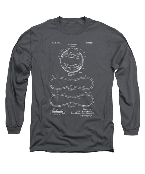 1928 Baseball Patent Artwork - Gray Long Sleeve T-Shirt by Nikki Marie Smith