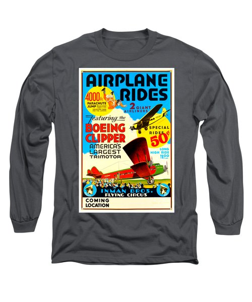 1929 Boeing Clipper Vintage Flying Circus Poster Long Sleeve T-Shirt by Peter Gumaer Ogden Collection