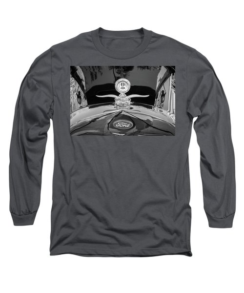 Long Sleeve T-Shirt featuring the photograph 1929 Ford Model A Hood Ornament Bw by Rich Franco