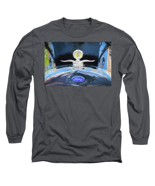 1929 Ford Model A Hood Ornament Painted Long Sleeve T-Shirt by Rich Franco