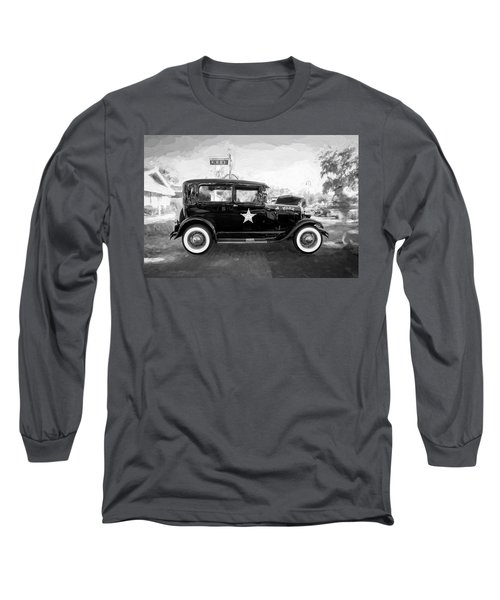 Long Sleeve T-Shirt featuring the photograph 1929 Ford Model A Tudor Police Sedan Bw by Rich Franco