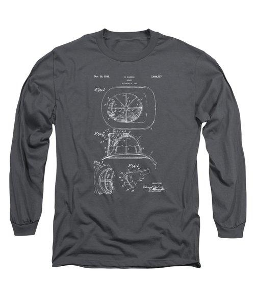1932 Fireman Helmet Artwork - Gray Long Sleeve T-Shirt by Nikki Marie Smith