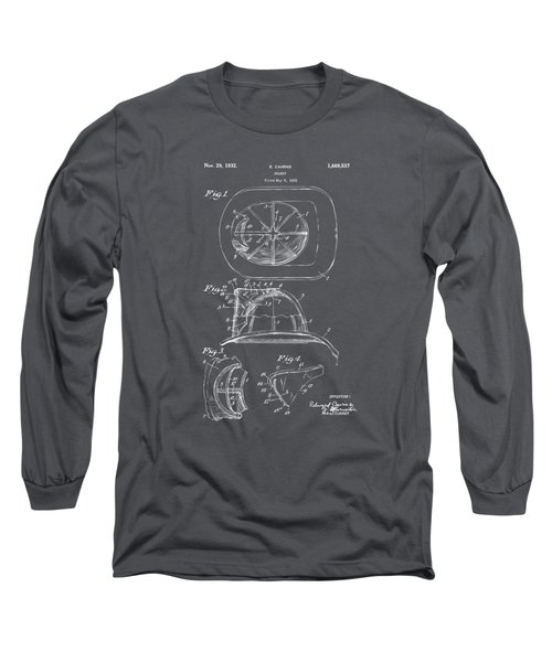 1932 Fireman Helmet Artwork - Gray Long Sleeve T-Shirt