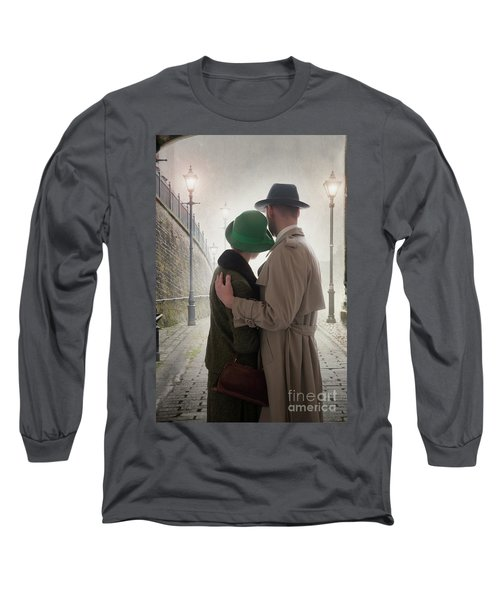 1940s Couple At Dusk  Long Sleeve T-Shirt by Lee Avison