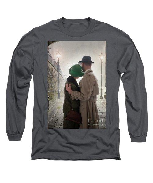 1940s Couple At Dusk  Long Sleeve T-Shirt by Lee Avison