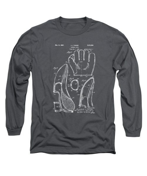 1941 Baseball Glove Patent - Gray Long Sleeve T-Shirt by Nikki Marie Smith
