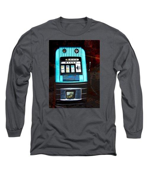 1945 Mills High Top 5 Cent Nickel Slot Machine Long Sleeve T-Shirt by Karon Melillo DeVega