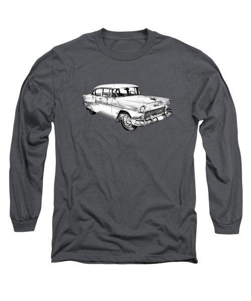 1955 Chevrolet Bel Air Illustration Long Sleeve T-Shirt