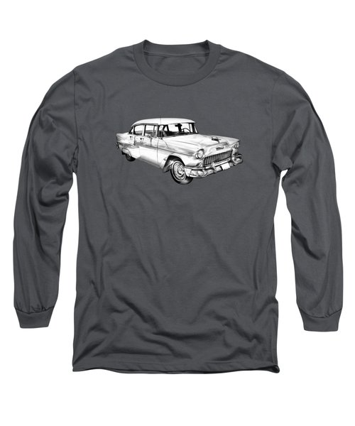 1955 Chevrolet Bel Air Illustration Long Sleeve T-Shirt