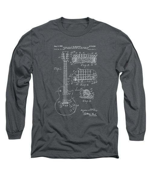 1955 Mccarty Gibson Les Paul Guitar Patent Artwork - Gray Long Sleeve T-Shirt by Nikki Marie Smith
