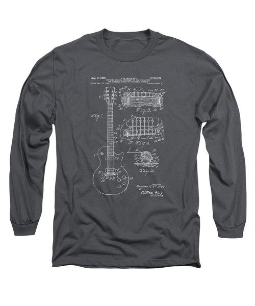 1955 Mccarty Gibson Les Paul Guitar Patent Artwork - Gray Long Sleeve T-Shirt