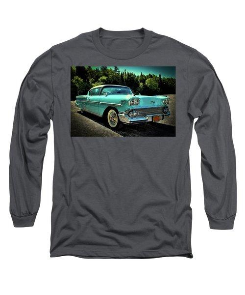 1958 Chevrolet Impala Long Sleeve T-Shirt by David Patterson