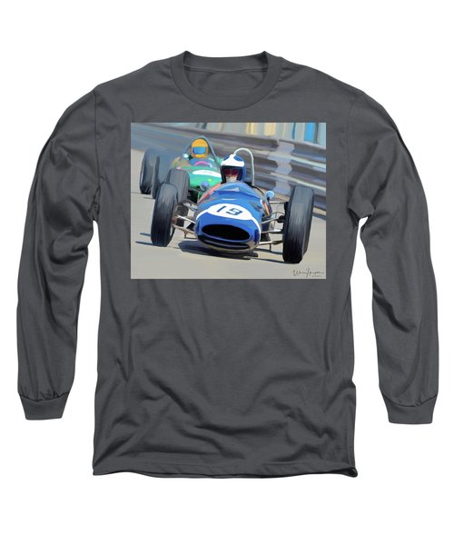 1963 Cooper T66 Coming Out Of Monaco's Mirabeau Long Sleeve T-Shirt by Wally Hampton