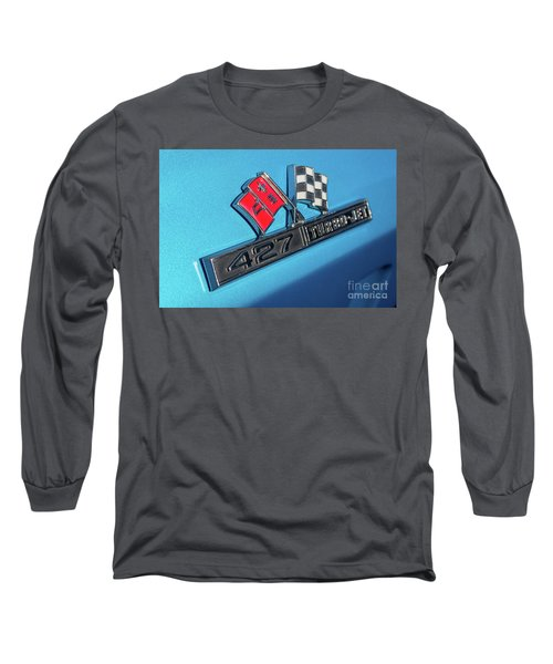Long Sleeve T-Shirt featuring the photograph 1965 Blue Corvette 427 Turbo Jet Emblem by Aloha Art