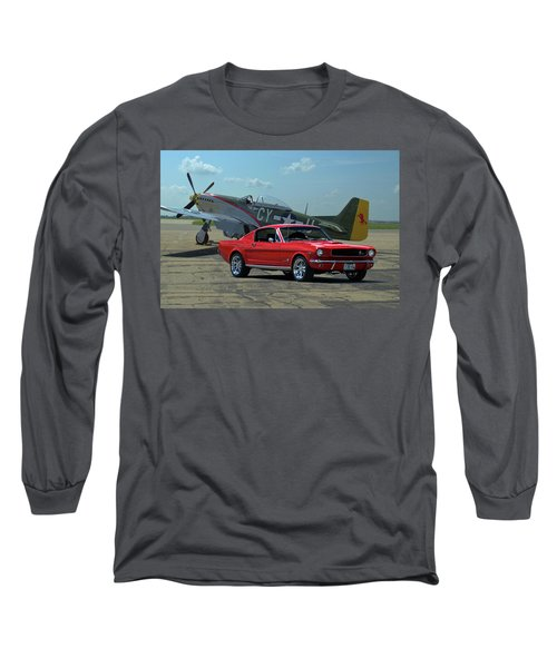 1965 Mustang Fastback And P51 Mustang Long Sleeve T-Shirt