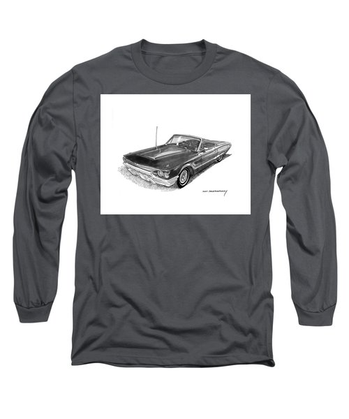 Long Sleeve T-Shirt featuring the drawing 1965 Thunderbird Convertible By Ford by Jack Pumphrey