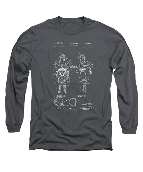 1968 Hard Space Suit Patent Artwork - Gray Long Sleeve T-Shirt by Nikki Marie Smith
