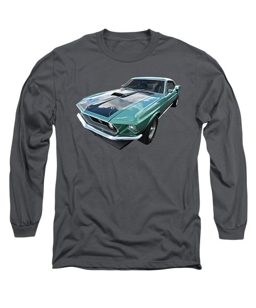 1969 Green 428 Mach 1 Cobra Jet Ford Mustang Long Sleeve T-Shirt
