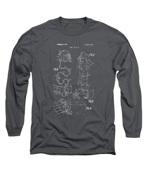 1973 Space Suit Elements Patent Artwork - Gray Long Sleeve T-Shirt by Nikki Marie Smith