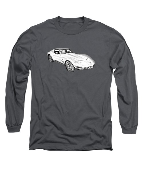 1975 Corvette Stingray Sports Car Illustration Long Sleeve T-Shirt
