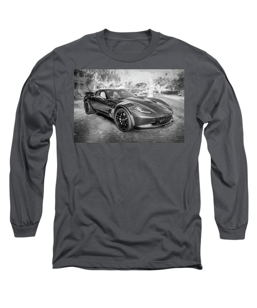 Long Sleeve T-Shirt featuring the photograph 2017 Chevrolet Corvette Gran Sport Bw by Rich Franco