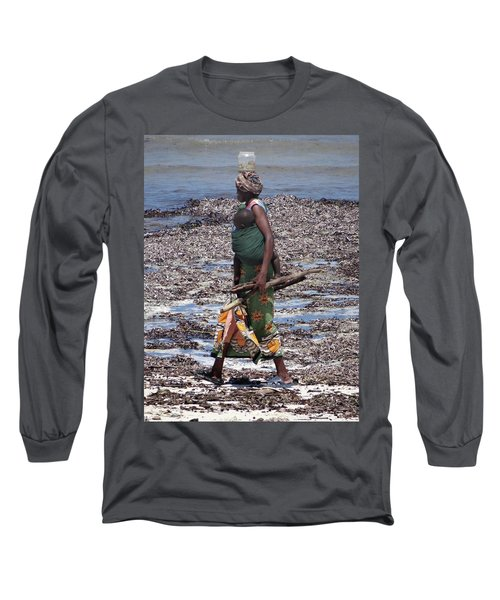 African Woman Collecting Shells 1 Long Sleeve T-Shirt