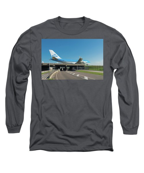 Airplane Over Highway Long Sleeve T-Shirt by Hans Engbers