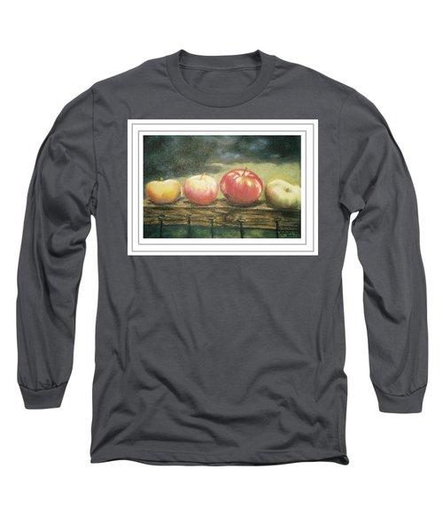 Apples On A Rail Long Sleeve T-Shirt by Harriett Masterson