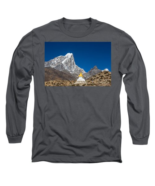 Dingboche Stupa In Nepal Long Sleeve T-Shirt