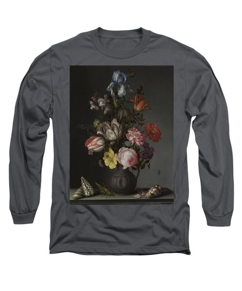 Flowers In A Vase With Shells And Insects Long Sleeve T-Shirt