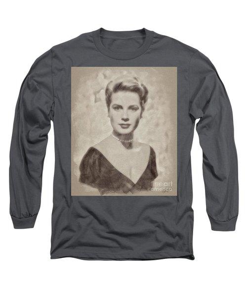 Grace Kelly, Actress And Princess Long Sleeve T-Shirt by John Springfield