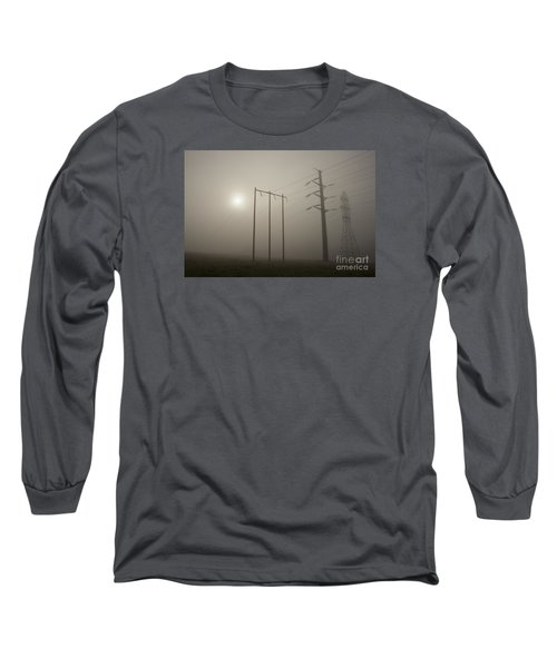 Large Transmission Towers In Fog Long Sleeve T-Shirt