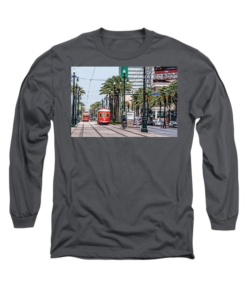 Long Sleeve T-Shirt featuring the photograph New Orleans Canal Street Streetcars by Andy Crawford