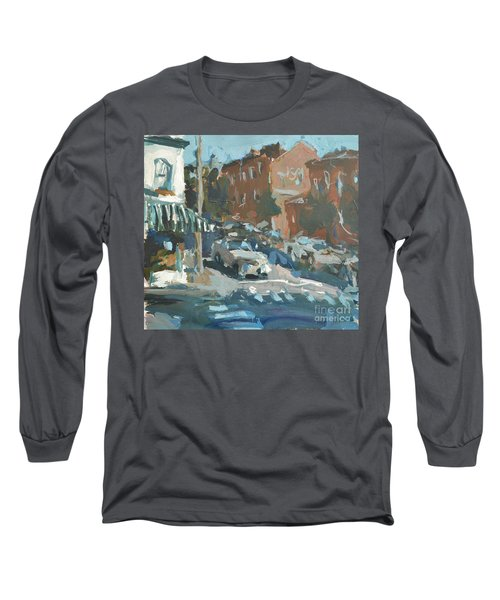 Long Sleeve T-Shirt featuring the painting Original Contemporary Urban Painting Featuring Richmond Virginia by Robert Joyner