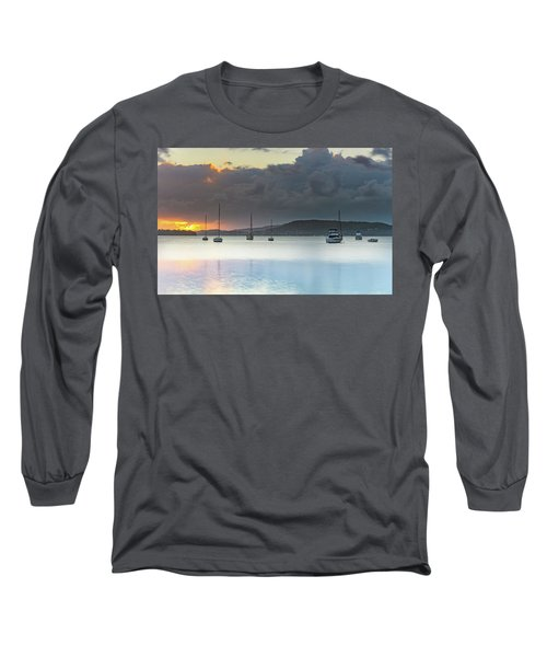 Overcast Sunrise Waterscape Long Sleeve T-Shirt